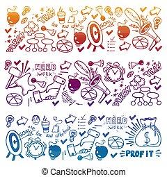brainstorm, razzo, modello, concept., motivazionale, su, icons., inizio, vettore, innovazione, succes