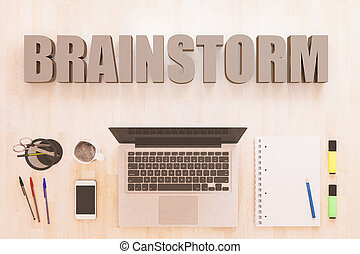 Brainstorm - text concept with notebook computer,...