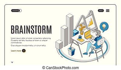brainstorm, trabalhando, sentando, laptop, escrivaninha, homem
