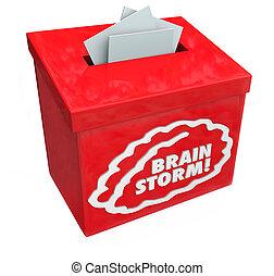 brainstorm, tvořivý, pojem, sugesce, vybírání, pokora, box