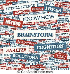 BRAINSTORM. Word cloud concept illustration. Wordcloud...