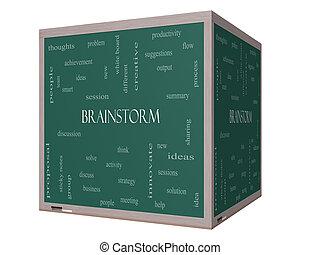 Brainstorm Word Cloud Concept on a 3D cube Blackboard