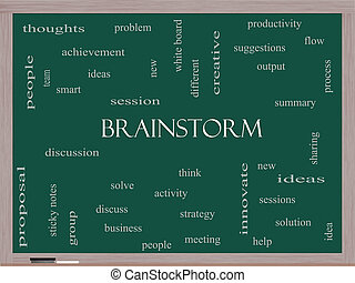 Brainstorm Word Cloud Concept on a Blackboard