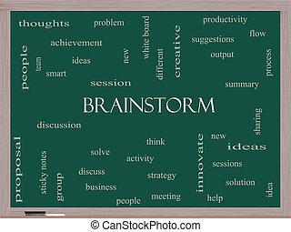 Brainstorm Word Cloud Concept on a Blackboard
