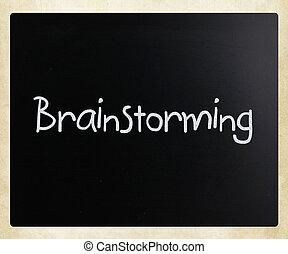 """""""brainstorming"""", 黒板, 白, チョーク, 手書き"""