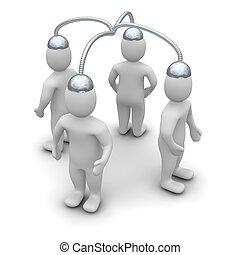 brainstorming., 3d, geleistet, abbildung, freigestellt, auf,...