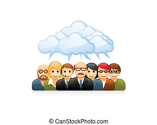 Brainstorming group of business people
