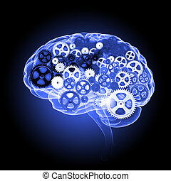 Brainstorming concept - Human brain silhouette with gears...