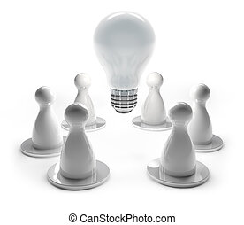 brainstorming concept - light bulb and white pawns in work ...