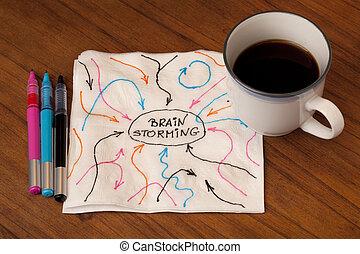 brainstorming concept on napkin - brainstorming concept -...