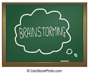 Brainstorming concept. - Illustration depicting a green...