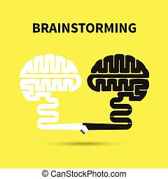 Brainstorming concept.Creative brain abstract vector logo design template.