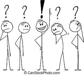 brainstorming, concetto, vettore, found., illustrazione, circa, uomini, o, uomini affari, soluzione, cartone animato, pensare, duro, problem., cinque
