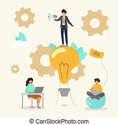 brainstorming, creativo, persone, illustration., vettore, soluzione, lavoro squadra, innovazione, avvio, idea, affari