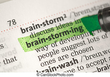 brainstorming, definition, hervorgehoben, in, grün