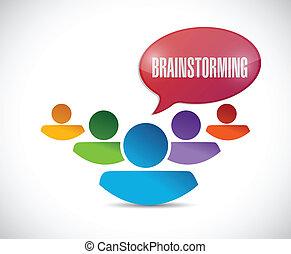 brainstorming, design, ilustrace, mužstvo