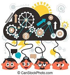 Brainstorming - Group of people brainstorming. No...