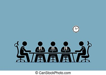 brainstorming, en, discussie, tussen, businessman.