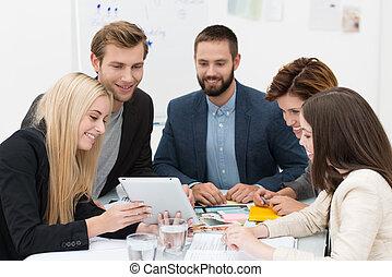 brainstorming, geschäft mannschaft