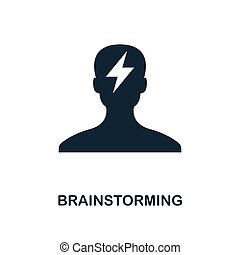 Brainstorming icon. Monochrome style design from business icon collection. UI. Pixel perfect simple pictogram brainstorming icon. Web design, apps, software, print usage.