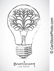 Brainstorming - Illustration of bulb with human brain,...