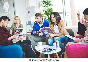 Brainstorming is happening on the meeting