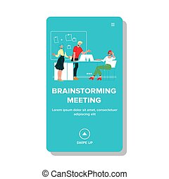 Brainstorming Meeting In Conference Room Vector Illustration