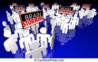 Brainstorming Meeting People Signs Ideas Creativity 3d...