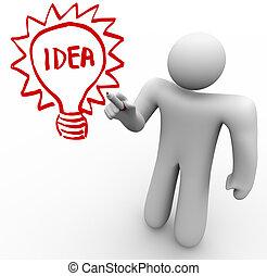Brainstorming Person Draws Idea Light Bulb on Glass Board