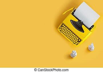 brainstorming, pisatel pařez, za, psací stroj