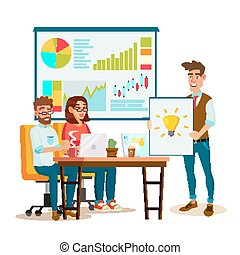 Brainstorming Process Vector. Teamwork Staff Around Table. Creative Team Idea. Group Of Businessmen Meeting. Marketing Research. Flat Isolated Cartoon Illustration
