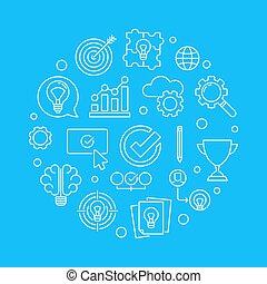 Brainstorming round vector line illustration on blue background