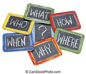 brainstorming, rozhodnutí, dotazy, dělání