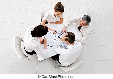 Brainstorming - Above view of business workteam thinking...