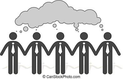 Brainstorming team of business people - teamwork
