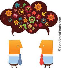 Brainstorming - Two businessman brainstorming.