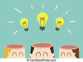 brainstorming - three head with light bulb
