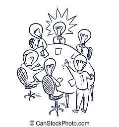 Brainstorming vector sketch - Brainstorming meeting vector...