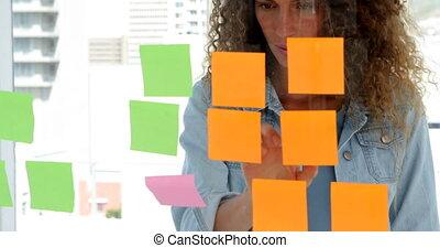 brainstorming, vrouwlijk, ontwerper, jonge