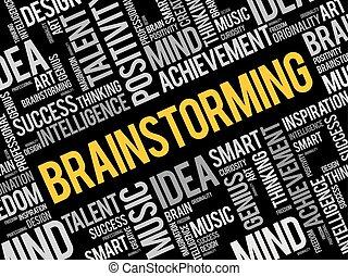 Brainstorming word cloud collage
