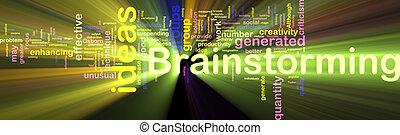Brainstorming word cloud glowing - Word cloud concept...