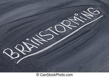 brainstorming word on blackboard