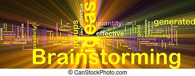 brainstorming, wort, wolke, glühen