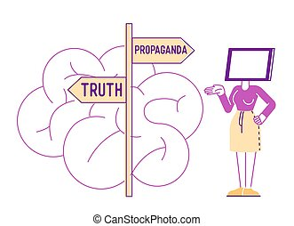 Brainwashing Mass Media Manipulation Concept. Female Character with Tv Screen instead of Head Stand on Roadsign with Truth and Propaganda Pointers front of Huge Human Brain. Linear Vector Illustration