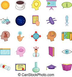Brainwave icons set, cartoon style - Brainwave icons set....