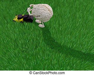 brainy cartoon cutting grass field with lawn mower, 3d...