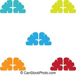 Brainy illustration color abstract without outline