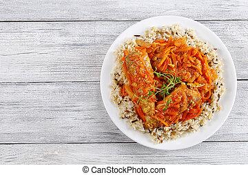 braisé, fish, riz, légumes
