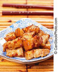 braisé, porc, asiatique, ventre