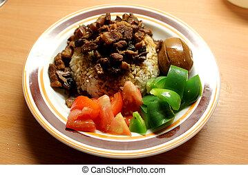 braisé, porc, riz, fait maison, chinois